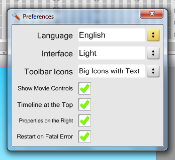 New Preferences Dialog in Hippo Animator 1.8