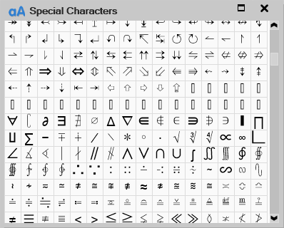 New Special Characters Window