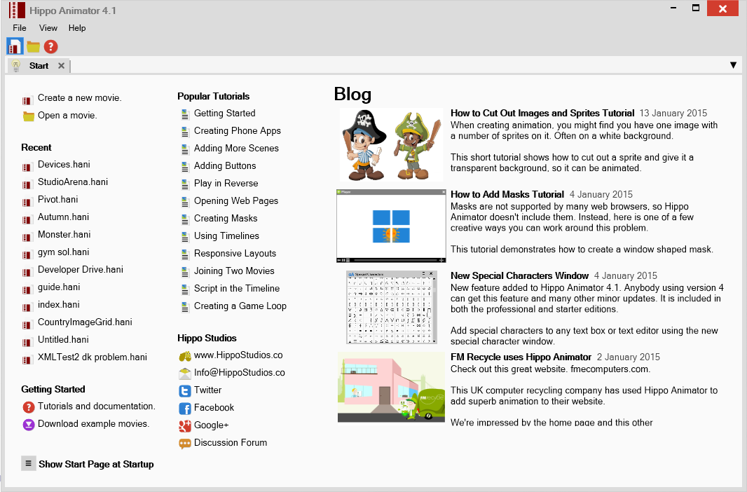 New Start Page Added to Hippo Animator 4.1