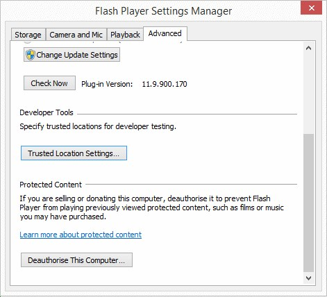 Adobe® Flash® Player Security AdobeSettings